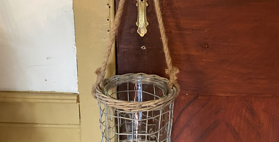 Glass and Wire Lantern with Rope Handle