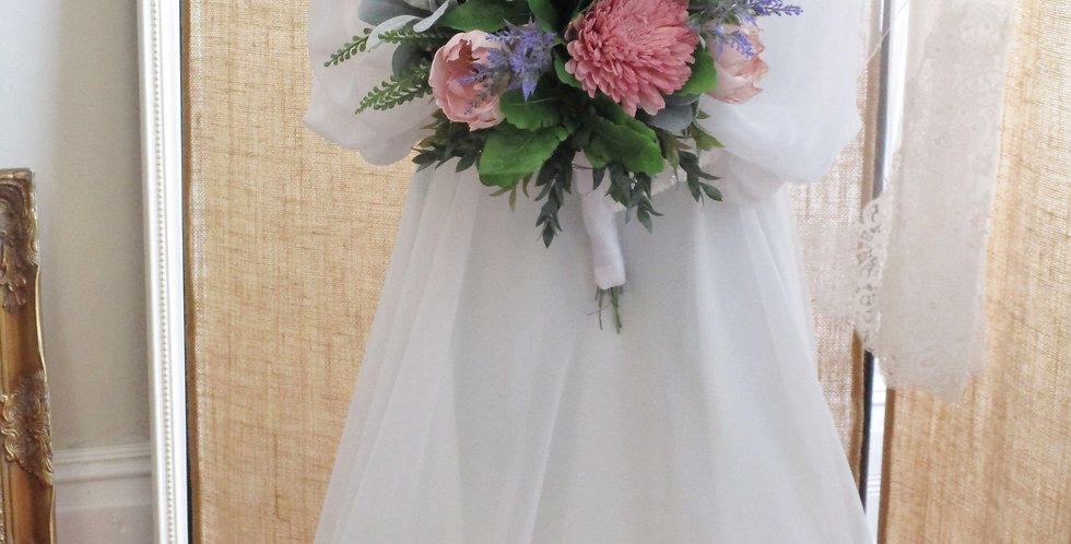 "12"" Hand Tied Bridal Blush Bouquet"
