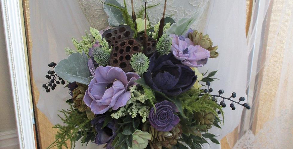 "12"" Plum Passion Hand Tied Bridal Bouquet"