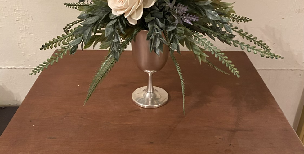 White Roses in Vintage Silver Goblet