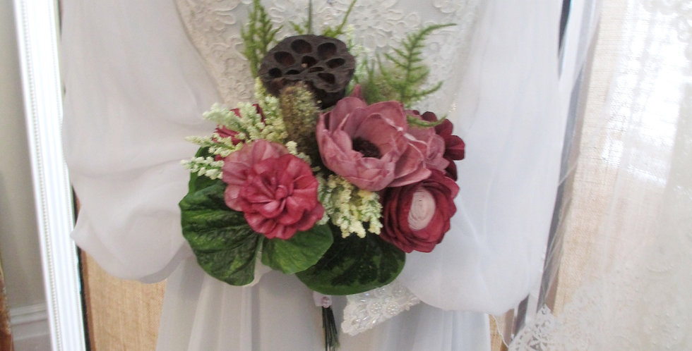 """8"""" Hand Tied Tanglewood Wine Bridal Bouquet"""
