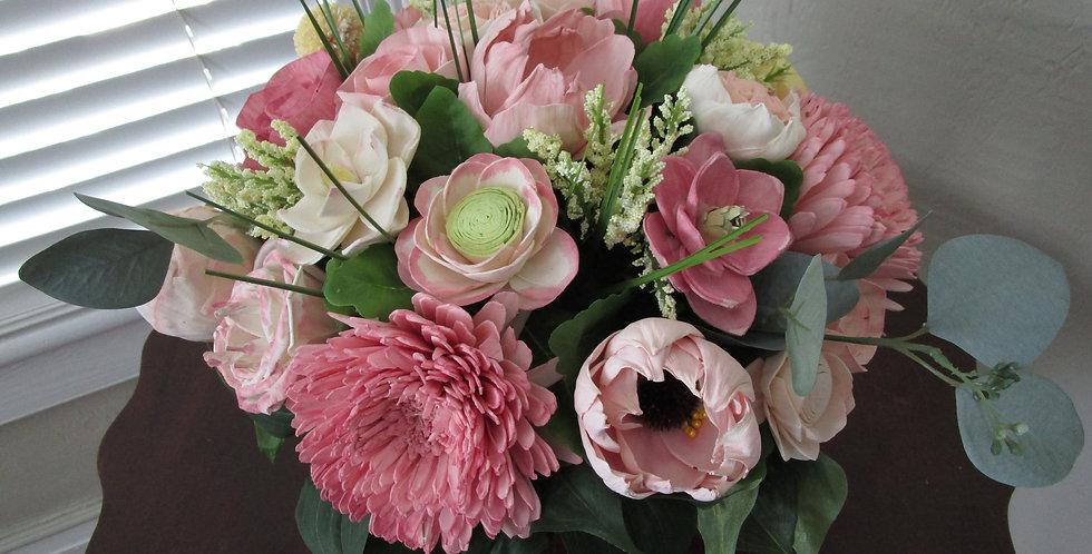 Bridal Blush Sola Flower Centerpiece in Soft Gold Glass Vase
