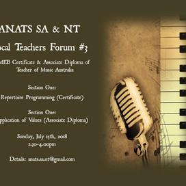 SA & NT EVENT: Vocal Teachers Forum #3 (July 2018)
