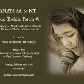 SA & NT EVENT: Vocal Teachers Forum #1