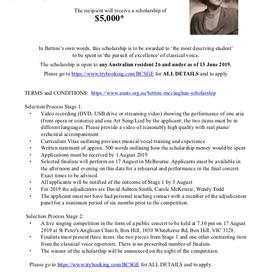 VIC EVENT: Bettine McCaughan Memorial Scholarship
