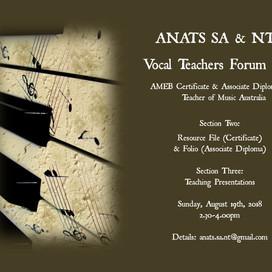 SA & NT EVENT: Vocal Teachers Forum #4 (August 2018)