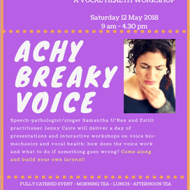 VIC Event: Achy Breaky Voice - A Vocal Health Workshop