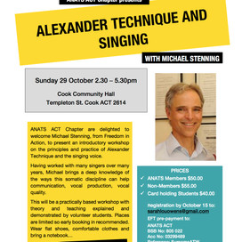 Alexander Technique and Singing - ACT Chapter event Sunday 29 October