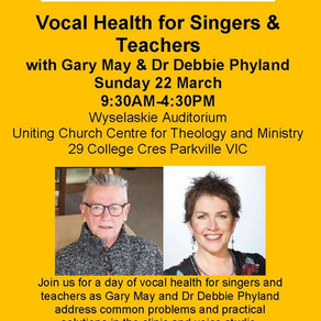 22 Mar 2020 | Vocal Health for Singers & Teachers | POSTPONED