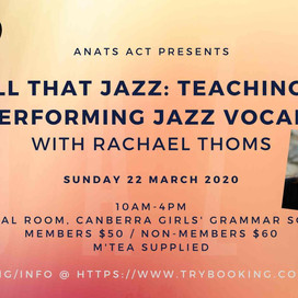 22 Mar 2020 | Teaching & Performing Jazz Vocals | CANCELLED