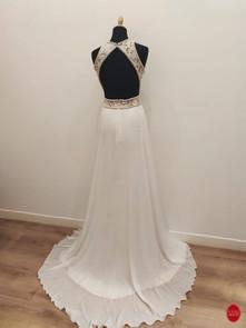 Robe de mariée dos nu en dentelle et mou
