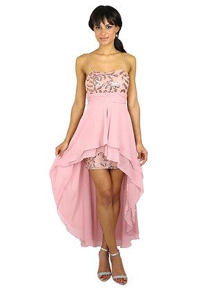 Robe assymétrique rose pâle