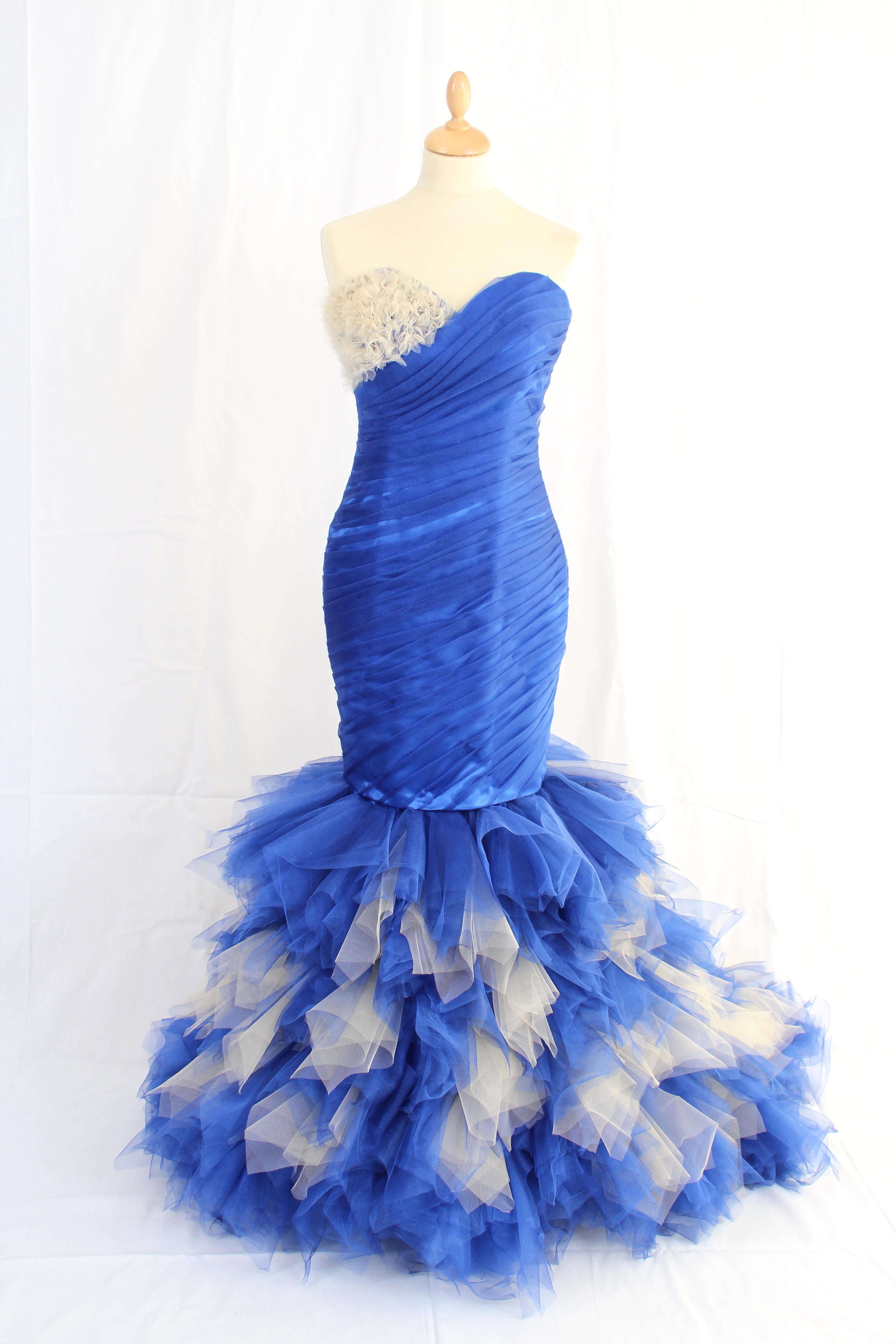 Longue robe siène bleu roi