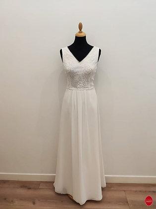 Robe de mariée longue col V