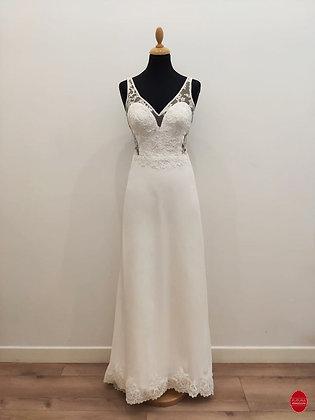 Robe de mariée longue top semi transparent