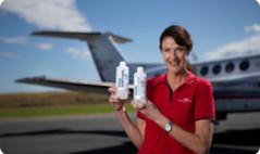 Hand sanitiser ready for take-off