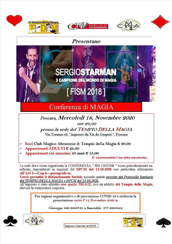 Locandina Conferenza STARMAN del 18.11.2