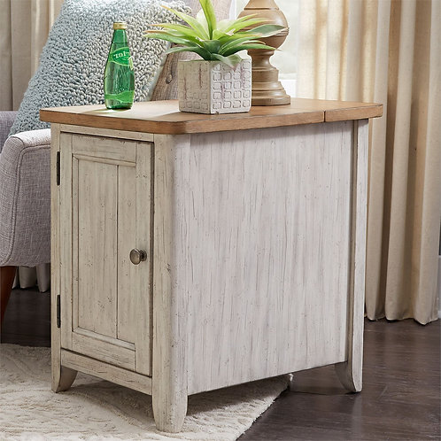Farmhouse Reimagined End Table with Charging Station