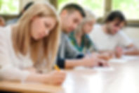 group of students takes the test in clas