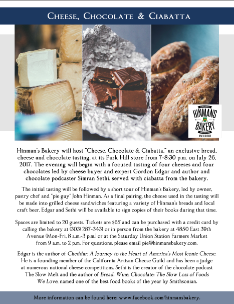 Cheese, Chocolate & Ciabatta event flier