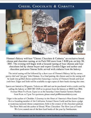 Cheese, Chocolate & Ciabatta event flier