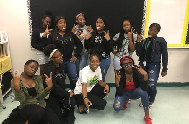 Group Picture with the Girls at Blanche Ely High