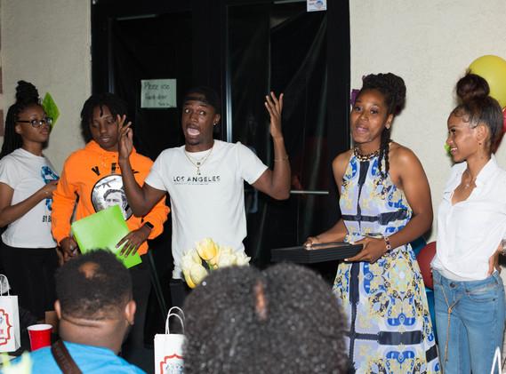 Volunteer Chustin Wesley Entertaining the Crowd