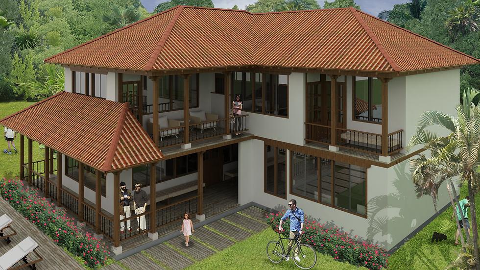 Casa campestre de 2 niveles con 4 habitaciones, 4 baños y balcones.  7QT4W- 290k