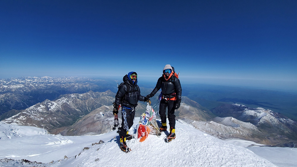 Frank and Jaye Routhier standing at the summit of Mt. Elbrus