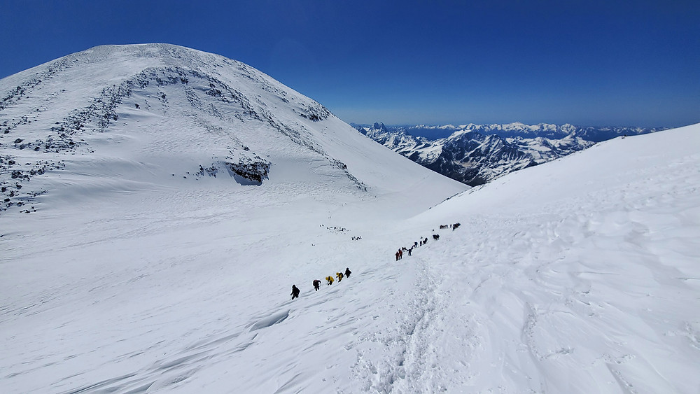 View of the Eastern peak of Mt. Elbrus and the saddle