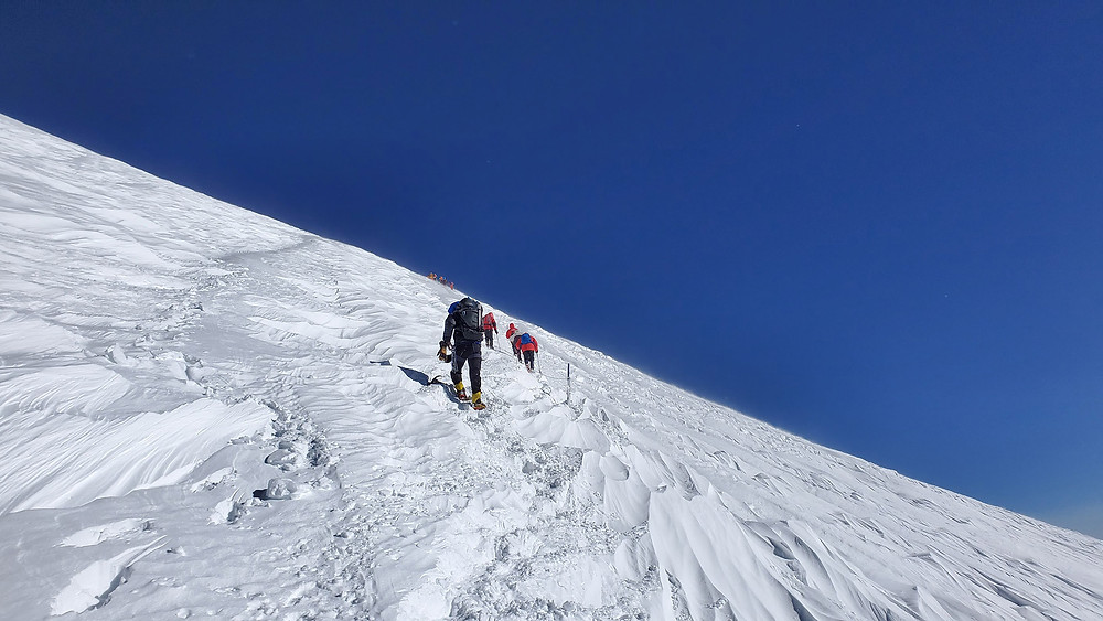 Frank Routhier ascending the roped section on Mt. Elbrus