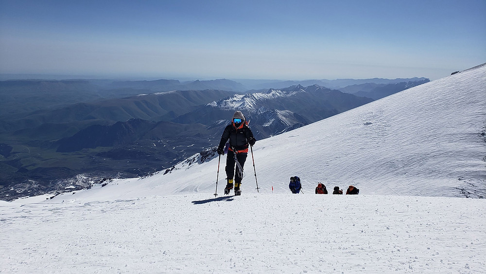 Janelle Routhier finishing the roped section of Mt. Elbrus