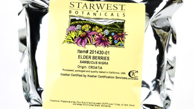 Starwest Botanicals Elder berries Sambucus Elderberry 1 lb resealable mylar bag