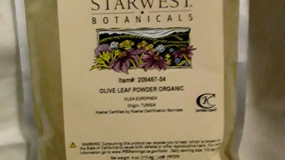 Organic Olive Leaf, Powder (Olea europaea) 4 oz. FREE SHIPPING