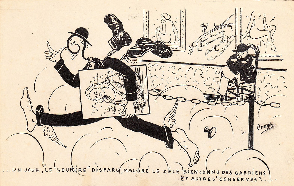 The cartoonist Orens did a series of five satirical postcards on the theft.