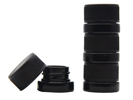 Small Child Resistant Twist Lid Black Glass Jar