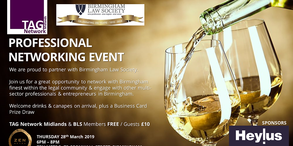 PROFESSIONAL NETWORKING EVENT in partnership with Birmingham Law Society