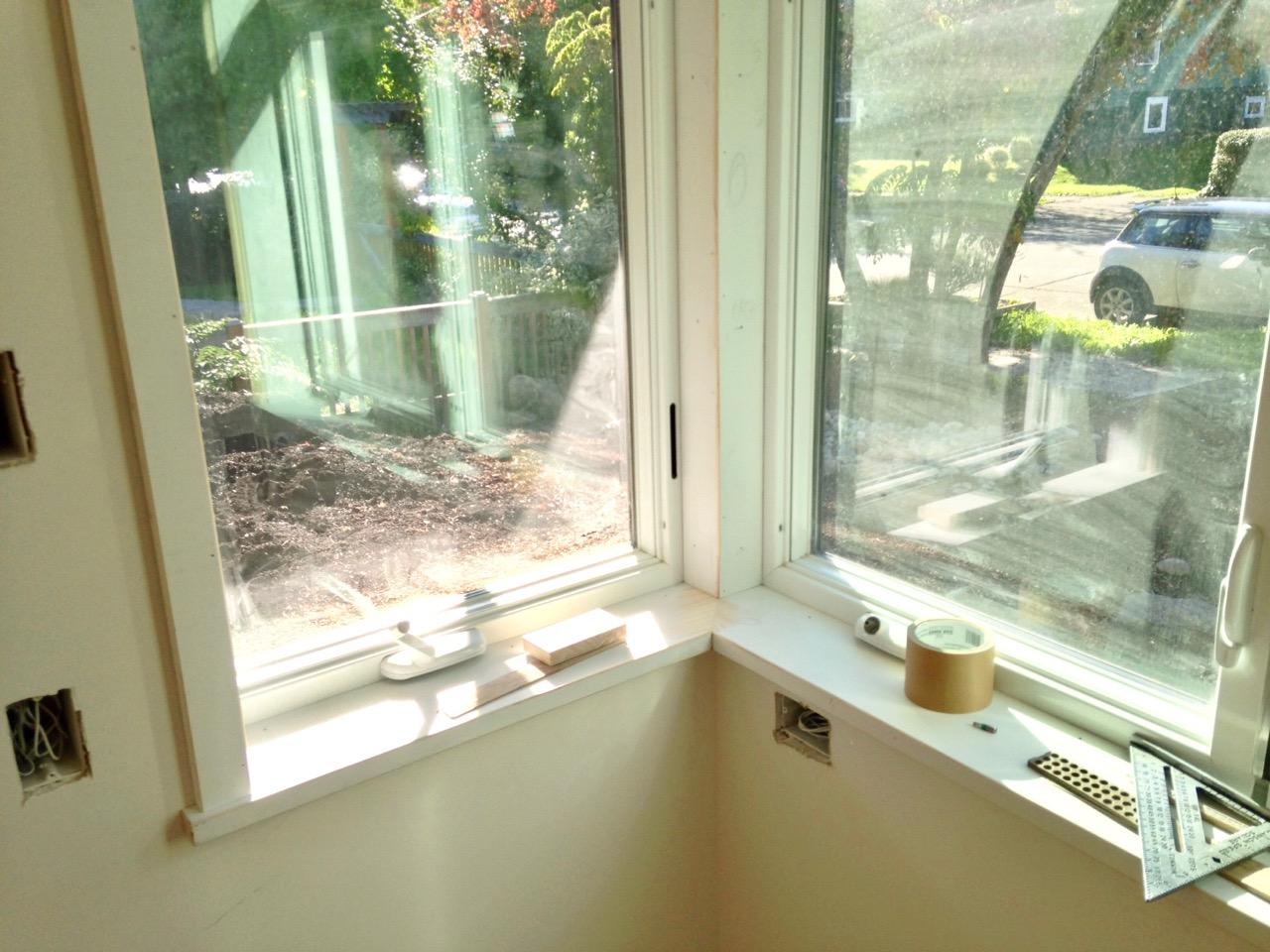 Corner window in process