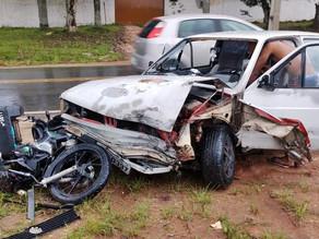 Acidente deixa motociclista ferido na Rodovia do Caqui
