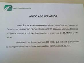 Linhas de ônibus da área rural serão desativadas em Campina