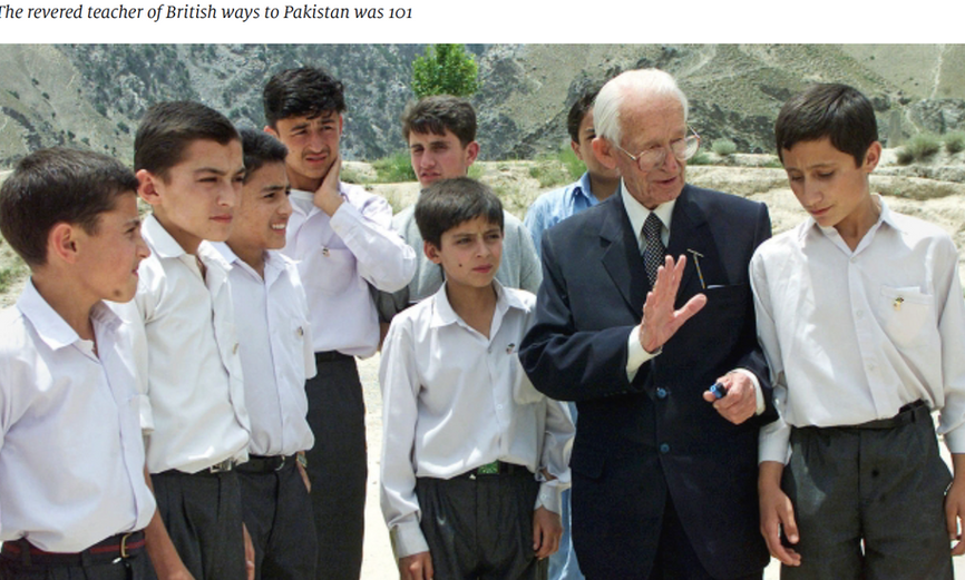 Geoffrey Langlands with Pupils at the Langlands School in Chitral