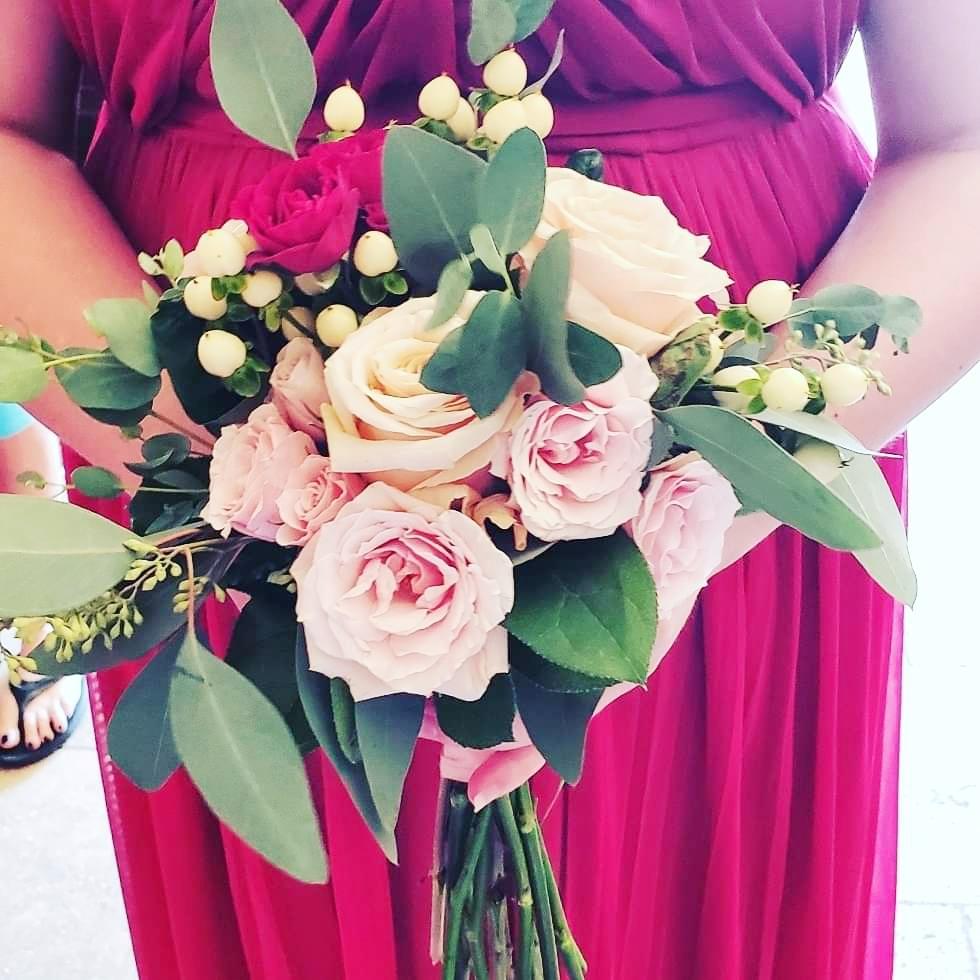 blush and burgundy bridesmaid