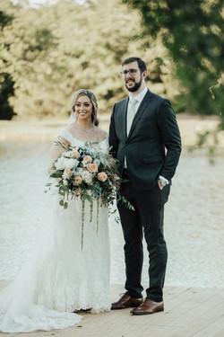 Kristin -gardeny peach and blue bouquet