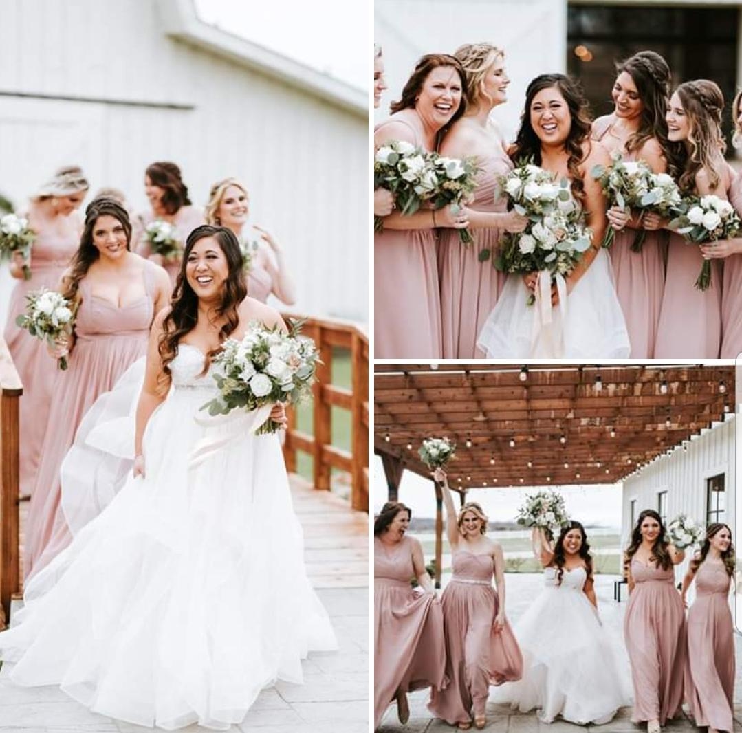 white and dusty rose wedding