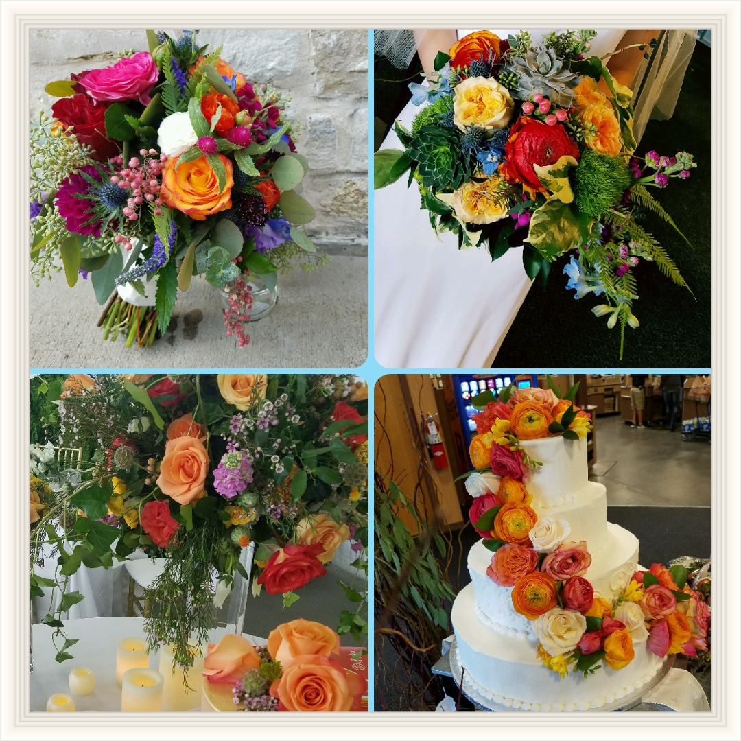 bright and colorful wedding flowers