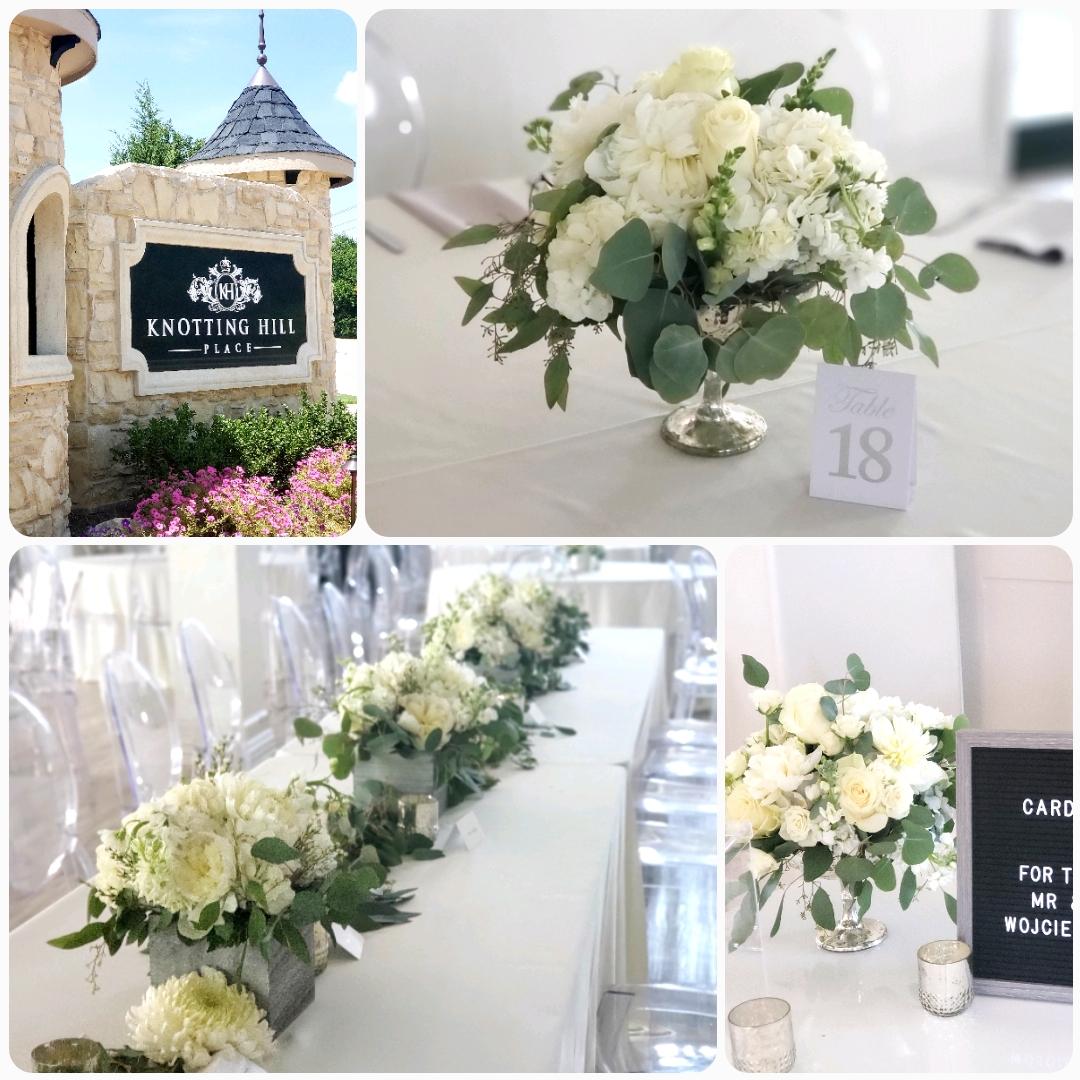 white wedding reception flowers