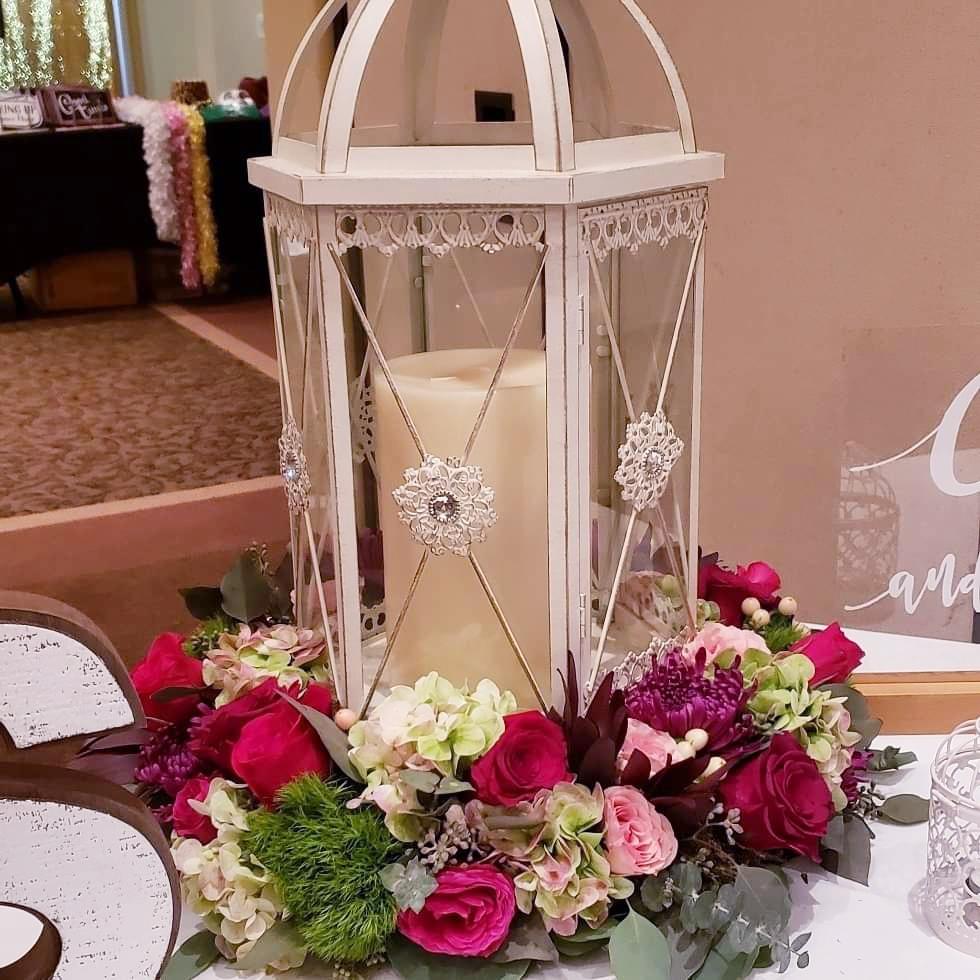 blush and burgundy lantern