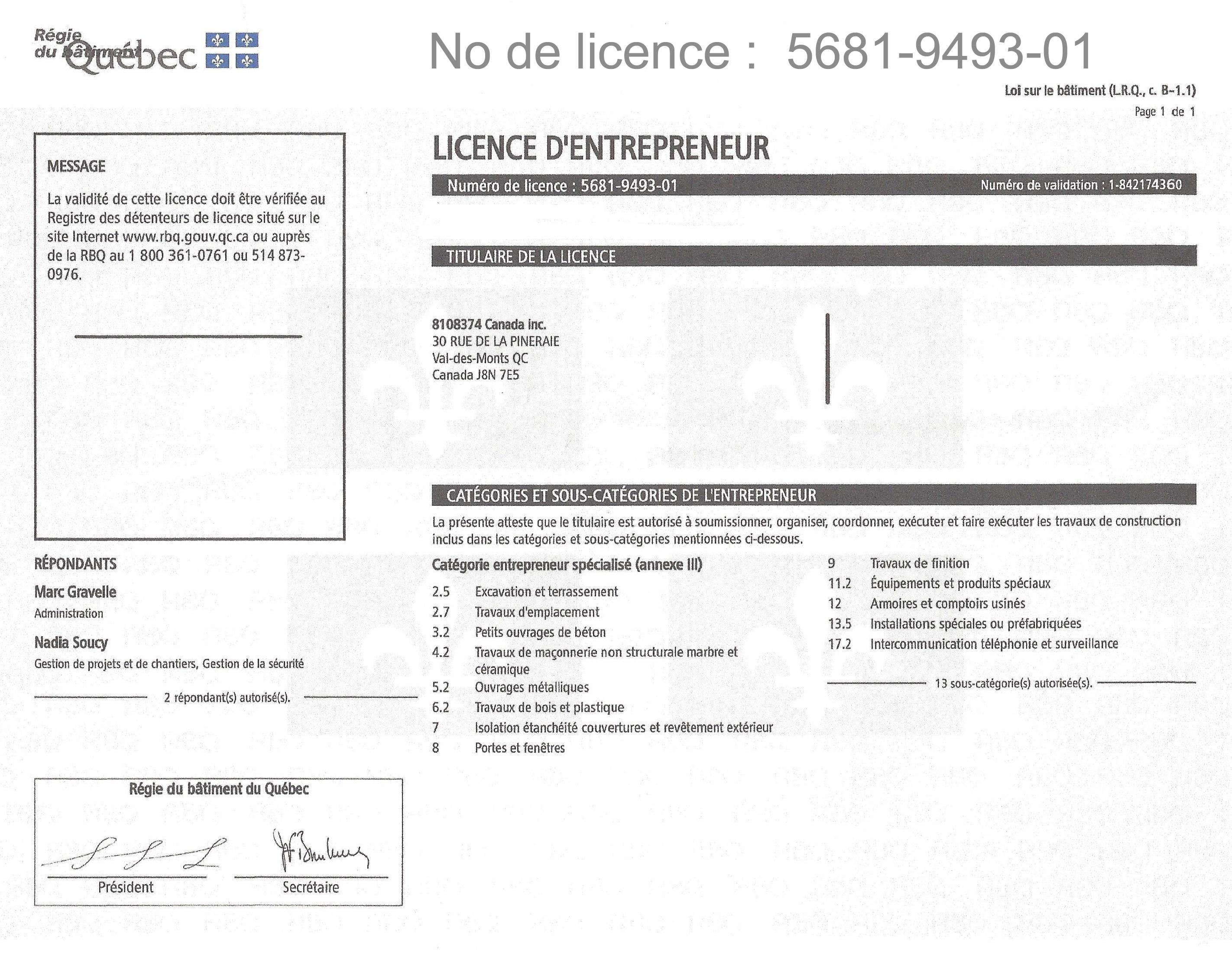 Licence - RBQ