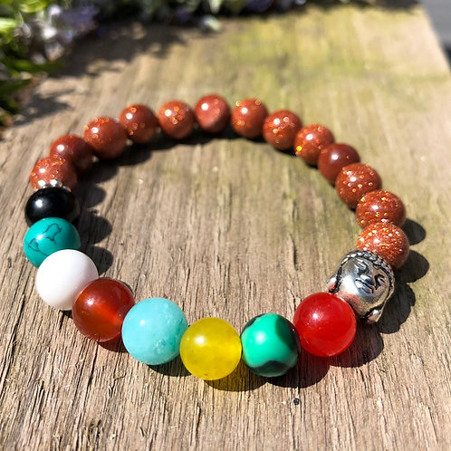 Chakra Bead Bracelet and Buddha Charm