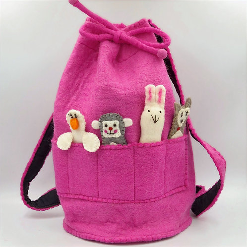 Felt Duffle Bag with Finger Puppets (pink)